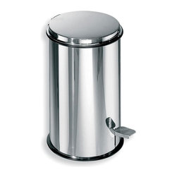 WS Bath Collections - Basket Treadle Waste Basket in Stainless Stee - Made by Lineabeta of Italy. Product Material: Stainless Steel/ Aluminum Pail. Finish/Color: Silver. Dimensions: 8.7 in. Diameter x 13 in. H