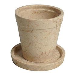 NOIR - NOIR Furniture - Large Flower Pot with Saucer - AM-72, White - NOIR Furniture - Large Flower Pot with Saucer - AM-72