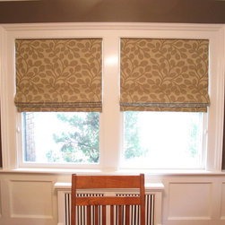 Roman Shades - Bold vine pattern adds pleasing drama to the dining room of an Arts and Crafts house. Rosemarie Garner
