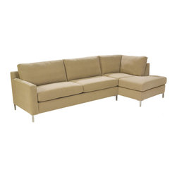 Lazar Industries - Soho Sectional:  Chaise and Adjacent 2-Seater Sofa in Woolco Beige - Soho Sectional:  Chaise and Adjacent 2-Seater Sofa:  Lazar's most popular and customizable stlye, the Soho offers modern luxury in a compact package.