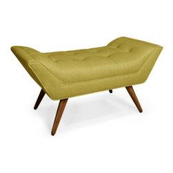 Whitaker Ottoman, Copenhagen Ochre - This one-seater bench is the work of the amazing Jonathan Adler. Love!