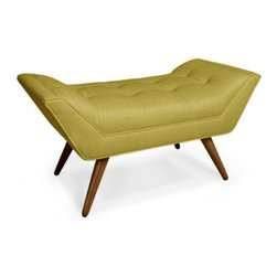 Whitaker Ottoman, Copenhagen Ochre - This one-seater bench is the work of the amazing Jonathan Adler. Love!