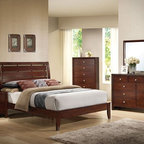 Acme Furniture - Ilana Brown Cherry Finish Queen Bed - 20400Q - Ilana collection Queen bed