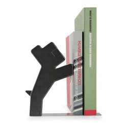 j-me designs - Buddy Bookend  , Black - They say a dog is a man's best friend, so why not let him help you hold your books? The Buddy Bookend is a unique and stylish answer to holding your books in place. Buddy stands up on his hind legs and stays upright by putting his front paws on your novels, biographies and other reading material. Ideal for holding books at home or in the office, Buddy will keep your bookshelf organized and eye-catching!
