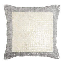 "Best Home Fashion - Bordered Mother of Pearl Pillow by Wild Mannered - 18"" x 18"", Silver - Handmade mother of pearl is the perfect decor piece for any sofa, chair, or bed."