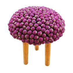 Studio Avni - Royal Turban-Pagri Stool, Purple Poof - The Pagri Stools are an upcycled collection of textile stools constructucted from converting old and discarded silk Sarees ��� bright and vivid draped garment worn by Indian women all across India, into sculptural seating options such as stools. Color: Available in various colors - Unique pieces. Currently available in Henna green.