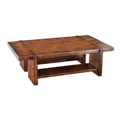 TerraSur - Giza Coffee Table - You'll fall for this this solid wood, geometric take on the classic coffee table. The perfect sturdy piece for your living room, this caramel-colored table will be the focal point of your decor.