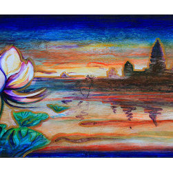 """""""Temple Morning"""" (Original) By Michael Bond - Temple Morning Shows The Light Of Dawn Rising Behind A Hindu Temple On The Ganges River, With A Lotus Flower In The Foreground."""