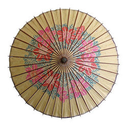 Consigned - Vintage, Handpainted Paper Parasol - Vintage hand-painted paper parasol with bamboo handle and wood ribs.  Great conversation piece on a table top or hanging from the ceiling.  Folds up for easy storage.