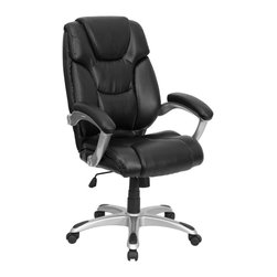 Flash Furniture - Swivel Executive Office Chair in Black - Headrest. Sculpted back and seat. Lumbar support. Titanium finished loop arms. Leather upholstered arm rests. Spring tilt mechanism. Pneumatic seat height adjustment. Tilt tension control. Heavy duty nylon base. Dual wheel casters. Warranty: 2 years limited. No assembly required. Back: 21.5 in. W x 26 in. H. Seat: 21 in. W x 20.5 in. D. Seat Height: 19.5 - 23.5 in.. Arm Height from Floor: 26.75 - 30.75 in.. Arm Height from Seat: 8.5 in.. Overall: 27.5 in. W x 26 in. D x 42.5 - 46.5 in. H (45 lbs.)