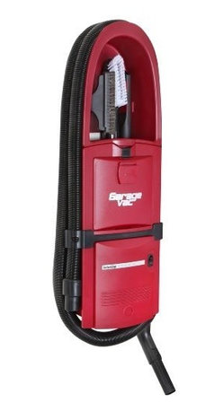 InterVac Design Corp. - GarageVac Flush Mounted Garage Vacuum - Red - Accessory kit included: 40' stretch hose, bare floor tool, upholstery brush, crevice tool, dashboard brush, telescoping wand, hose hanger. long crevice tool