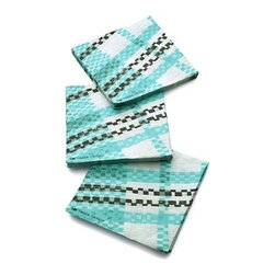 Party Plaid Paper Beverage Napkins Set of 20 - Joyful combinations of cheerful graphics and eclectic collages celebrate high-spirited gatherings, small and grand. Mix, stack and overlap the dynamic patterns of Paola Navone's Party collection into a patchwork of party. Fresh plaid weaves bright teal with black and white into an offset textured tartan.