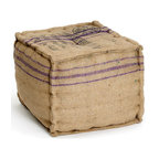 Square Ottoman - From our Vintage Accent Furniture Collection, our square burlap ottoman looks like you picked it up at a Paris flea market. It is also a green product. The burlap on the ottoman has print on it so it looks so vintage!.