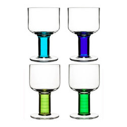 Sagaform - Wine Glasses Set (Blue Green) - A stunning set of four modern wine glasses in brilliant shades of blue and green. Carefully hand blown for a unique shape. Designed by Matz Borgström for Sagaform, this set is a great addition to any home bar!