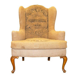 Wing Chair Upholstered in Vintage French Jute - $1,995 Est. Retail - $1,150 on C -