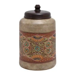 Benzara - Hand Crafted Terracotta Jar with Black Colored Lid in Traditional Ethnic Design - Hand Crafted Terracotta Jar with Black Colored Lid in Traditional Ethnic Design. This charming terracotta jar is sure to be delight to traditional art lovers with its earthy design and beautiful ethnic floral paintings. The dimensions of the terracotta pot are 10 x 10 x 16. Some assembly may be required.