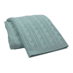 Cable Knit Throw Aqua - A cable-knit throw is great for curling up with a good book or snuggling on chilly evenings. The gray-blue hue goes along with the wall color.