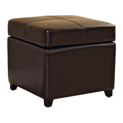 Wholesale Interiors - Dark Brown Full Leather Storage Cube Ottoman - This square storage ottoman is a versatile piece useful in any room of your home. This elegant ottoman provides styles and room to keep items out of sight yet close at hand to meet both your decorative and storage needs. Interior frame built to last with sturdy construction consisting of kiln dried hardwood frame, with high density foam padding and hinged lid for easy opening and closing. Durable polyurethane coated leather upholstery for longer lasting use and stain resists for easy clean up. Leg constructed with solid rubber wood with veneer finish completes with elegant smooth, clean lines design. The perfect combination of quality craftsmanship with simple and sophisticated designs, that will instantly enhance any room decor.