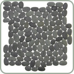 Design For Less - Natural Finish Vivid Black Pebble Tile - You'll hardly believe the way your space is so beautifully transformed with this highly unique (not to mention gorgeous) pebble tile. It feels amazing under your feet and brings nature's elements to your comfort zone. These vivid black pebbles are shaped by the natural movements of the river and then placed upon a mesh backing.