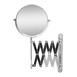None - Extendable Wall Mount 2X Magnifying Makeup Mirror - The extendable wall mount mirror can be pulled forward when need it,and then stow away against the wall when finished. Featuring a 2X magnification,this mirror is perfect to use it when putting on makeup or plucking out eyebrows.