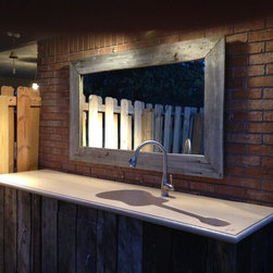Custom Concrete Guitar Farm Sink - Custom Concrete Outdoor Farm Sink in the shape of a Guitar. Buff Color.