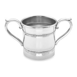 Reed & Barton - Reed & Barton  2-Handle Pewter Cup - Bring a bit of elegance to the nursery with this Reed and Barton  Baby Beads two-handle cup. This baby cup is made of durable, non-tarnish pewter and features detailed beading accents that offer a clean, classic look as a keepsake on any bureau.