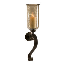 iMax - Medium Scroll Base Wall Sconce with Brown Luster Glass - Brown luster glass glows from the light of a pillar candle and creates a rich ambiance from this medium scroll basewall sconce