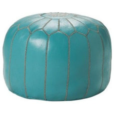 Traditional Floor Pillows And Poufs Turquoise Moroccan Leather Pouf