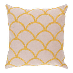 """Surya COM010-1818D 40% Cotton 18"""" x 18"""" Decorative Pillow - With a lovely pattern resembling scales, this pillow is on trend. Colors of sunshine yellow and peach cream accent this decorative pillow. This pillow contains a down fill and a zipper closure. Add this 18"""" x 18"""" pillow to your collection today. Filler: Down Feathers. Shape: Square"""
