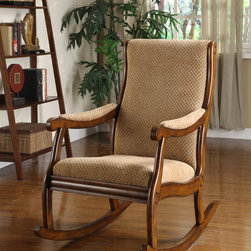Furniture of America - Furniture of America Antique Oak Rocking Chair - Add leisurely comfort to your living room or den with this comfy antique oak rocking chair. It comes with fabric upholstery, and the back and the arms feature extra padding. This rocking chair works well for families with small children and pets.
