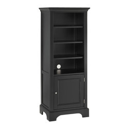 Home Styles - Home Styles Furniture Bedford 4 Shelf Wood Audio Rack/Bookcase in Ebony - Home Styles - Audio Racks - 553113 - The Bedford Pier Cabinet offers clean - lined hybrid styling and a versatility of application for the discerning individual. Distinguished by a thick bracket - foot base and molded crown the Bedford garners further character with an inset - paneled cabinet door and brushed nickel handle. A spacious 3 - adjustable shelf open compartment is well - suited as a bookcase audio component storage or display purposes while the lower door cabinet is ideal for your disc library. An ebony finish is the final touch in assuring the sleek look and appeal of the Bedford Pier Cabinet.