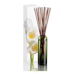 DayNa Decker Botanika Essence Diffuser 16 oz - Leila - The Essence Diffuser is a streamlined new take on a home fragrance solution that is elegant in its simplicity. Best-quality botanical oils expertly blended into intense multi-noted mixtures fill bottles hand-blown from recyclable glass into polished round shapes with smoothly curved, narrowing mouths. When the 20-24 sticks of sustainable wood are allowed to rest in the oil, they draw the fragrance notes up from the bottle and release their pleasurable aromas into the air.