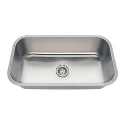 """MR Direct 3218C Single Bowl Undermount Stainless Steel Sink - The 3218C is part of our new line of economically-priced sinks. It is constructed from 18 gauge, 304 grade stainless steel. The surface has a brushed satin finish to help mask small scratches that occur over time and will keep this sink looking beautiful for years. The overall dimensions of the 3218C are 32 1/4"""" x 18"""" x 9"""" and a 33"""" minimum cabinet size is required. The 3218C has the same outer dimensions and cutout size as the 3218A and 3218B and a cutout template is included with purchase. This sink comes with a 3 1/2"""" center drain, is fully insulated and comes with sound dampening pads. As always, our stainless steel sinks are covered under a limited lifetime warranty for as long as you own the sink."""