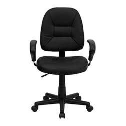 Flash Furniture - Flash Furniture Mid Back Ergonomic Task Chair in Black with Arms - Flash Furniture - Office Chairs - BT682BKGG - Affordable leather computer chair will provide you with the comfort needed for browsing the internet. This chair was designed to provide comfort and support. The mid-back design makes it a perfect desk chair especially for smaller work spaces but still doesn't compromise on its appeal and features. Adjustable polyurethane arms allow for a custom fit. [BT-682-BK-GG]