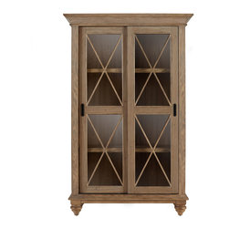 """Horchow - """"Clarendon"""" Bookcase - """"Clarendon"""" BookcaseDetailsHandcrafted of poplar with a weathered driftwood finish.Two sliding glass doors; three adjustable shelves.42""""W x 18""""D x 66""""T.Imported."""