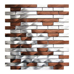 Silver and Chocolate Brick Mixed Aluminum Mosaic Tile Sample