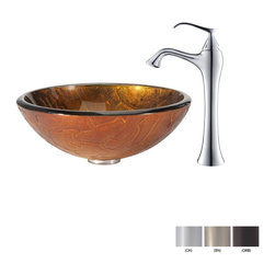 Kraus - Kraus Triton Glass Vessel Sink and Ventus Faucet Brushed Nickel - *Add a touch of elegance to your bathroom with a glass sink combo from Kraus