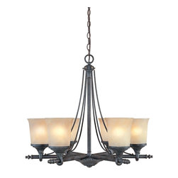 Designers Fountain - Designers Fountain Austin Traditional Chandelier X-DSW-68379 - A unique blend of contemporary curves and traditional details add to the appeal of this Designers Fountain chandelier. From the Austin Collection, it features a dark toned Weathered Saddle finish that accentuates all the traditional influencing. Six beautiful satin crepe shades complete the look.