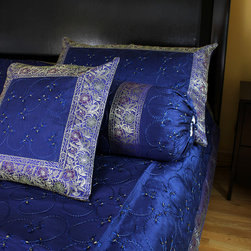 Luxurious & Decorative Bedding Sets - Luxurious 7-piece  bedding set. Marine Blue color. Embroidered by hand in India with beautiful abstract shapes.