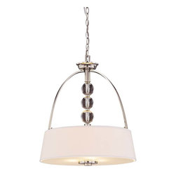 Savoy House - Murren Pendant - A Transitional look, combining the best of Traditional and Contemporary styles, with a cleaner, less ornamented design. The Polished Nickel finish works well with the hardback white fabric shades. This versatile family includes a rod hung three light trestle and an assortment of incredibly unique pendants and bath bars.