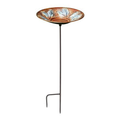 Minuteman International - Achla Leaf Bird Bath - BP-16T-S - Shop for Garden Bird Baths from Hayneedle.com! With the Achla Leaf Bird Bath you can attract feathered visitors to your backyard. Treat them with a sip of fresh water and they'll keep coming back. The bowl measures a generous 2.5 inches which allows it to hold adequate water or feed for birds. The bowl features beautifully embossed and painted leaves that ll enhance the charm of your backyard or garden. Its vibrant color is perfect for attracting your favorite songbirds. Featuring a Roman bronze stake this bird bath is tough and durable yet elegant.Special Note:The ideal bathing depth for birds is 1.5 to 2 inches. You can simply fill the bath with 1.5 to 2 inches of water or you can take the decorative approach and use polished stones or similar items to raise the water level while keeping birds safe.About ACHLA DesignsThis item is created by ACHLA Designs. ACHLA is a garden accessories company that emphasizes unique wood and hand-forged wrought iron European furnishings for the home and garden. ACHLA Designs continues to add beautiful and unique items year after year resulting in an unusually large product line. All ACHLA products are stocked in the company's warehouse for year-round prompt shipping. ACHLA Designs takes great pride in offering exceptional products and customer service.