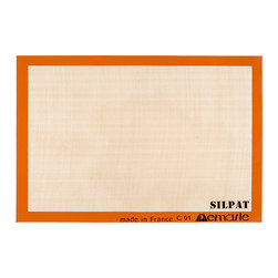 Silpat® - Full Size Nonstick Silicone Baking Mat - Replace parchment paper with this professional-quality baking mat that can be used thousands of times.   16.5'' W x 24.5'' H Fiberglass / silicone Freezer-, microwave-, and oven-safe Temperature range: -40°F to 482°F Hand wash Made in France