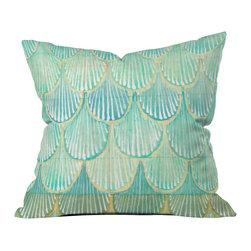 DENY Designs - Cori Dantini Turquoise Scallops Outdoor Throw Pillow - Do you hear that noise? it's your outdoor area begging for a facelift and what better way to turn up the chic than with our outdoor throw pillow collection? Made from water and mildew proof woven polyester, our indoor/outdoor throw pillow is the perfect way to add some vibrance and character to your boring outdoor furniture while giving the rain a run for its money. Custom printed in the USA for every order.