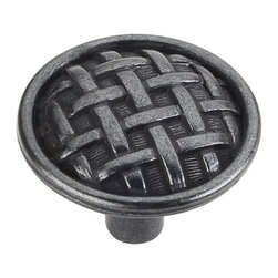 Jeffrey Alexander 3174-DACM Cabinet Knob - Large - Ashton Series - Gun Metal Fin - This gun metal finish round cabinet knob with braided design is a part of the Ashton Series from Jeffrey Alexander. A perfect blend of craftmanship in traditional and contemporary design to complement any decor.