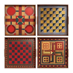 Folk Art Game Boards - Set of 4 - These are reproductions of 19th century American game boards full of history and character. Use them as individual trays and let the quiet American folk art remind you of simpler times. Hang them all together and their rich, lively designs will bring a playful spirit to your wall.