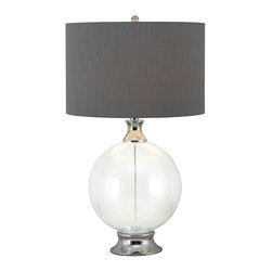 Kenroy - Kenroy 32024GCH Celestial Table Lamp - An instant eye-catcher, the clear glass orb at Celestial's base makes it a perfect choice for a contemporary room.  A Gray drum shade adds warm texture.