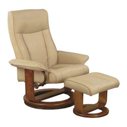"Mac Motion - Mac Motion Chairs Cobblestone Tan Polyurethane Swivel Recliner w/ Ottoman - Euro design with the same seating area of most large recliners, yet fits within most areas of the home. Features include 360 degree swivel for easy motivation in the selected areas, multi position back adjustments for personal back recline settings and matching leg support ottoman to complete the personal therapy seating to relax in comfort. Surrounded in a warm ""Cobblestone"" polyurethane everywhere you touch on both matching items. Accented with a warm ""Walnut"" wood frame finish."