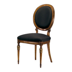 "Inviting Home - Louis XVI Style Chair - Louis XVI style carved beechwood side chai; seat: 20""W x 19-1/2""D x 20-1/2""H; back: 39-3/4""H; hand-made in Italy; Louis XVI style carved beech wood chairs with hand-rubbed walnut finish antiqued silver-leaf accents and black muslin upholstery. These carved wood chairs are hand-crafted in Italy."