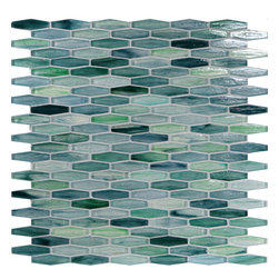 "Glass Tile Oasis - Aqua Unique Shapes Green Pool Glossy Glass - Sheet size:  12"" x 12""     Tiles per sheet:  156     Tile thickness:  1/4""      Grout Joints:  1/8""     Recycled Components:   70%     Sheet Mount:  Paper Face      Sold by the sheet      - Waterfall glass tiles are each a one of a kind work of art. Each style features complimentary colors  shot through with transparent layers of contrasting colors. Mosaics are stacked together creating a unique repeating pattern.These are hand-poured and will have a certain amount of variation and variegation of color  tone  shade and size. Additionally  you will notice creases  wrinkles  shivers  waves  bubbles topped off with a natural surface to catch all forms of light for a brilliant effect. These characteristics of natural glass only serve to enhance the final beauty of the installation."
