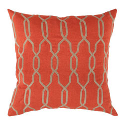 Surya Rugs - 18-Inch Square Orange-Red and Parchment Patterned Linen Pillow Cover with Poly I - - 18 x 18 100% Linen Pillow Cover w/ Poly Insert.   - For more than 35 years, Surya has been synonymous with high quality, innovation and luxury.   - Our designers have masterfully created some of the most cutting edge and versatile pieces to bring out the best in every room.   - Encompassing their expert understanding of the latest trends in fashion and interior design, each product is a perfect combination of color, pattern and texture to accommodate the widest range of tastes.   - With Surya, the best in design and quality is at your fingertips.   - Pantone: Orange-Red, Parchment.   - Made in India.   - Care Instructions: Spot Clean.   - Cover Material: 100% Linen.   - Fill Material: Poly Fiber. Surya Rugs - COM005-1818P